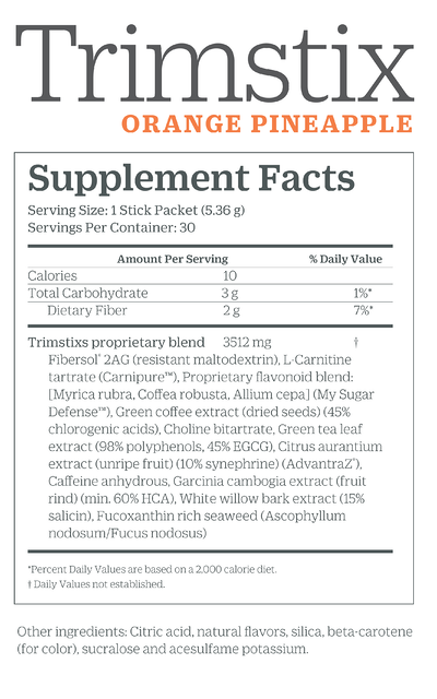 Trimstix_OrangePineapple_Supplements Facts