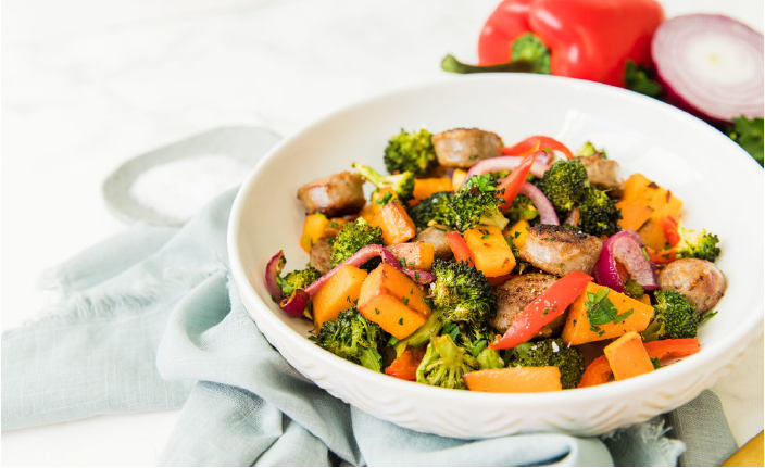 veggies and sausage